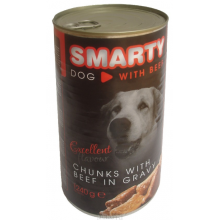 SMARTY DOG chunks with BEEF in gravy 1240g